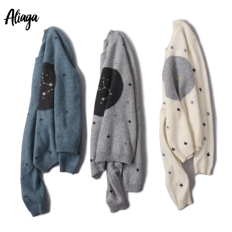 Aliaga Handmade Embroidery Luxury Constellation Sweater Women 100% Cashmere Sweater Ladies White Pullovers Knit Femme Knitwear