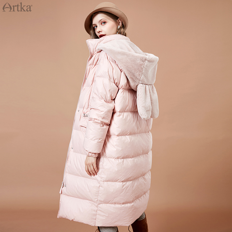 ARTKA 2019 Winter New Women Down Coat Cute Rabbit Ear Detachable Hooded 90% White Duck Down Coat Long Warm Outwear ZK15181D
