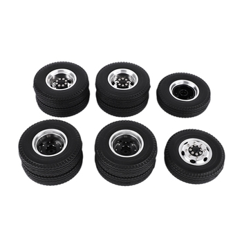 Front and Rear Rubber Low Loader Wheels with Aluminum Rims for Tamiya 1/14 Scale Tractor