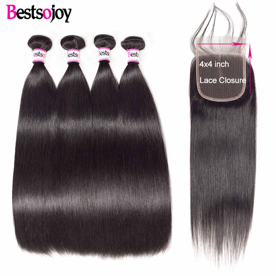 Bestsojoy Human Hair Bundles With Closure 4 Bundles With Lace Closure Remy Hair Extension Brazilian Straight Hair Bundle Deals