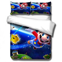 Ropa de cama 3D de Super Mario Bros Conjunto de niños lindo personaje dibujo estampado edredón conjunto de cama ropa de cama Twin Full Queen King