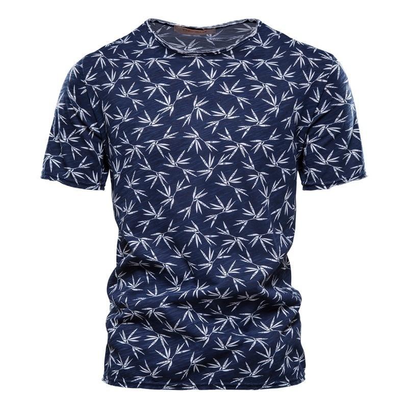Летняя футболка NEGIZBER 2021 из 100% хлопка, Мужская футболка с круглым вырезом и короткими рукавами, Качественная мужская одежда Гавайская футбол...