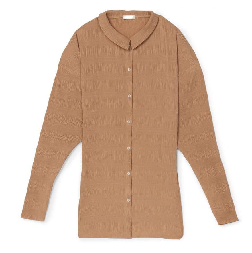 Women Shirt Personality Versatile Tricolor Anzi Natural Pleated Fabric Womens Tops Cool / Comfortable Thin Shirt Spot