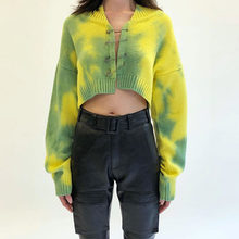 Tie Dye Autumn Women Sweaters Vintage Yellow Green Pullovers Jumper Fashion Sweatshirt Brooch Casual Cardigan Sweater New(China)