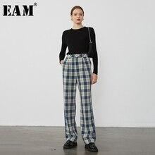 Joint Leg-Trousers Spring Summer Women Fashion Fit-Pants Plaid Loose Split High-Waist