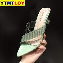 Women Sandals PVC Transparent Crystal Shoes Woman Pointed To