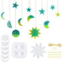Sol lua estrela resina epóxi moldes com corda de cânhamo e parafuso olho pinos diy pingente jóias chaveiro silicone moldes artesanato ferramenta
