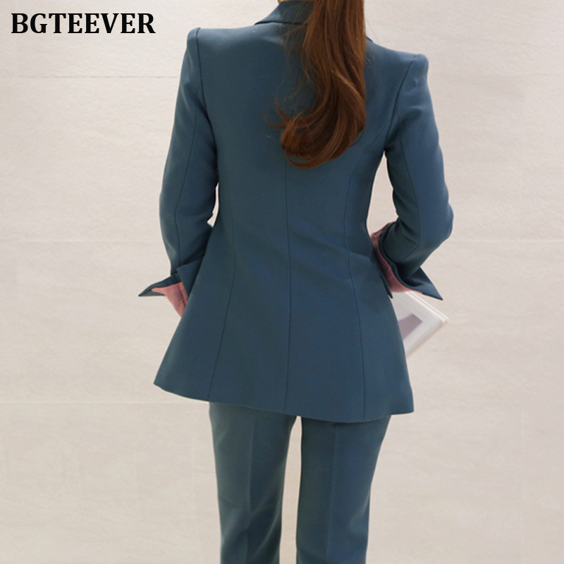 Fashion Work Pant Suits Women Slim Blazer Jacket & Ankle-length Pants OL Style Female Suits 2 Pieces Set 2019 Blazer Suit Set 49
