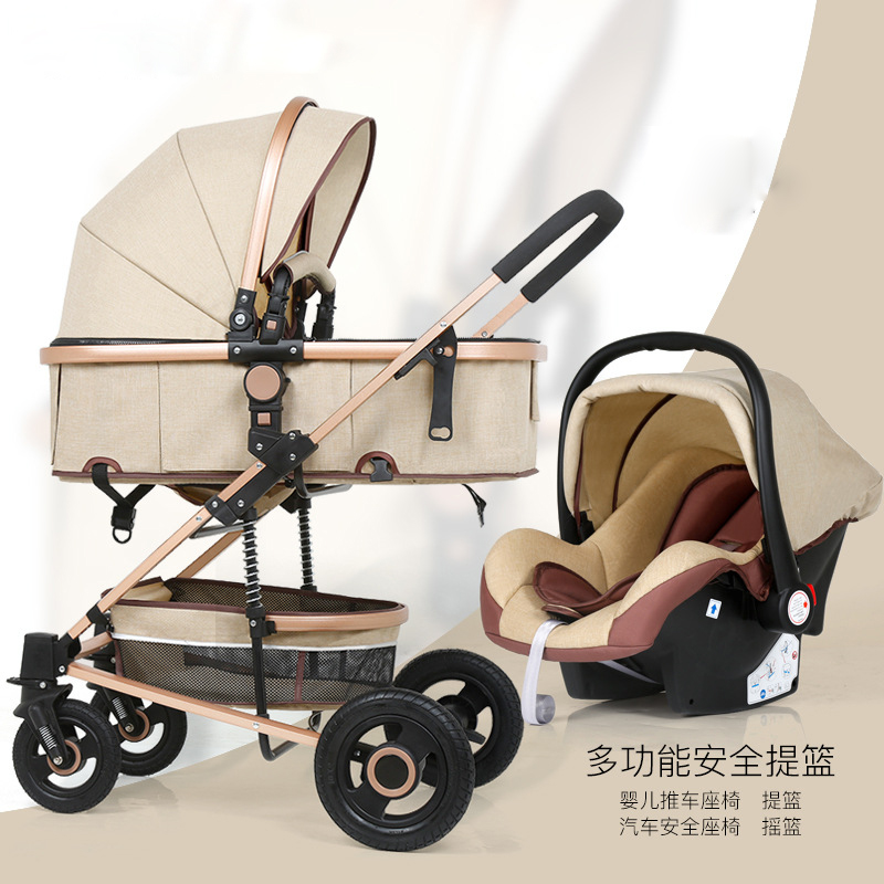 Protable Winter Stroller Can Sit Reclining Folding Shock Absorber Baby Carriage High Landscape Lightweight Children Trolley