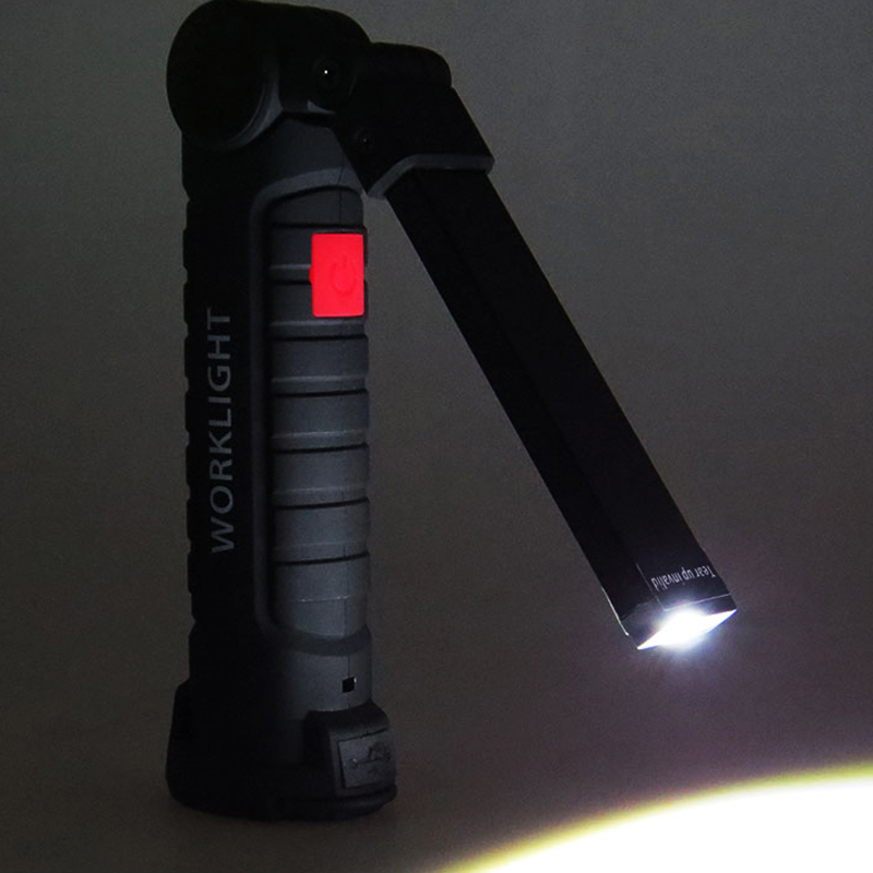 COB LED Rechargeable Work Light Magnet Flashlight With Hook Folding Torch Lamp W52 Black
