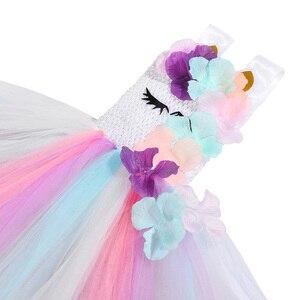 Image 5 - Cute Floral Unicorn Party Girls Dress Kids Halloween Unicorn Costumes for Girls 1 Year Birthday Dress with Unicorn Headband Wing