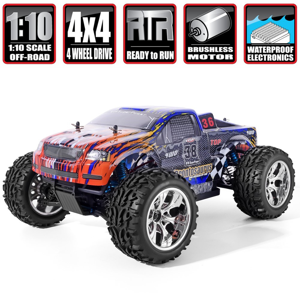 HSP RC Car 1/10 Scale 4wd Off Road Monster Truck 94111PRO Electric Power Brushless Motor Lipo Battery High Speed Hobby Vehicle