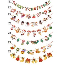 3M Christmas Hanging Banner Merry Christmas Letter Flag Paper Chains Christmas Decoration for Home Party Santa Claus Ornaments