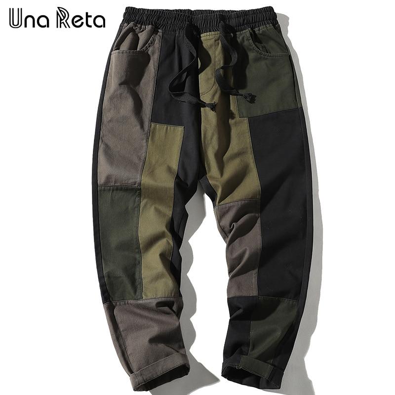 Una Reta Men's Pants 2020 New Arrivals Men Loose Joggers Harajuku Japanese color stitching Trousers Casual Sweatpants Men