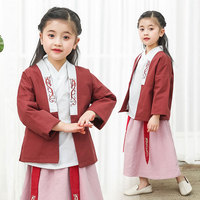 Girls Red Hanfu Embroidery Fairy Dress Classical Dance Costume Folk Festival Outfit Rave Performance Clothing 3 Pcs Set DF1289