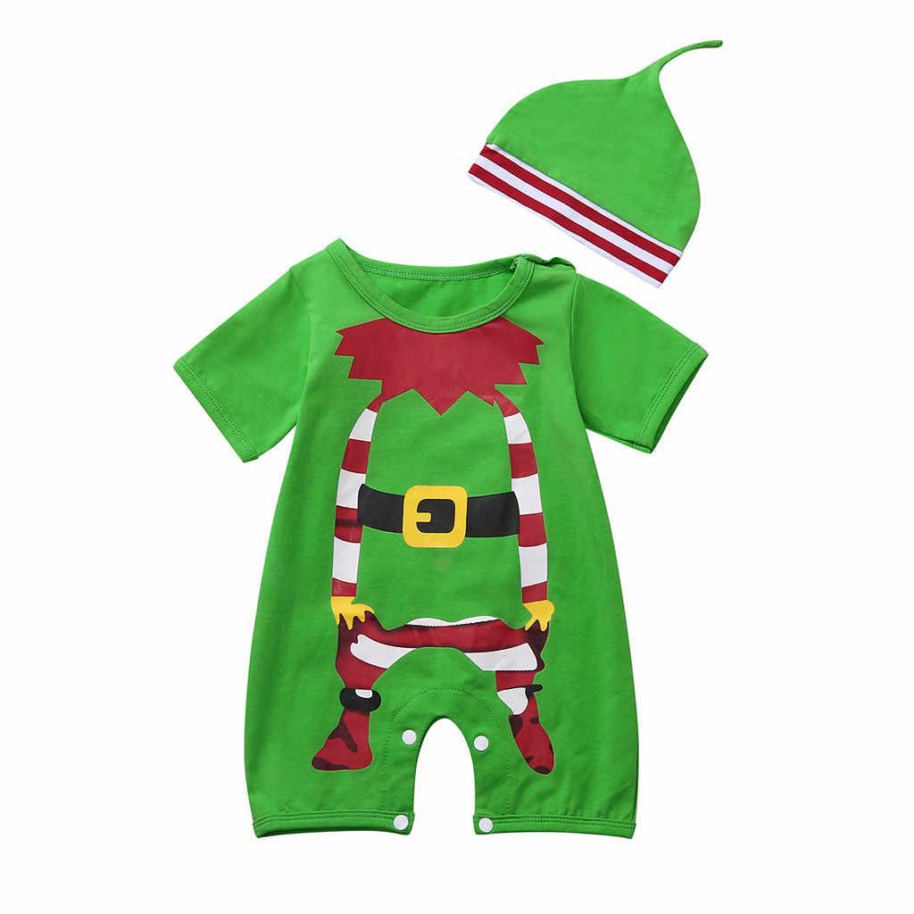 Ropa infantil bebé niñas BoysShort manga Navidad dibujos animados mono + conjuntos de sombrero ropa linda Festival # sw1