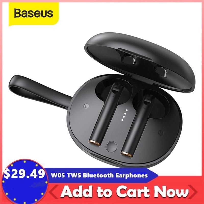 Baseus W05 TWS Bluetooth наушники с сенсорным управлением наушники HD стерео беспроводные наушники Поддержка Qi зарядные устройства