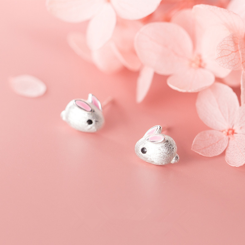 OBEAR Sweet Cute Small Pink Mouse Rat Women's Earrings Siver Plated Small Earrings Girl Wedding Jewelry Gift