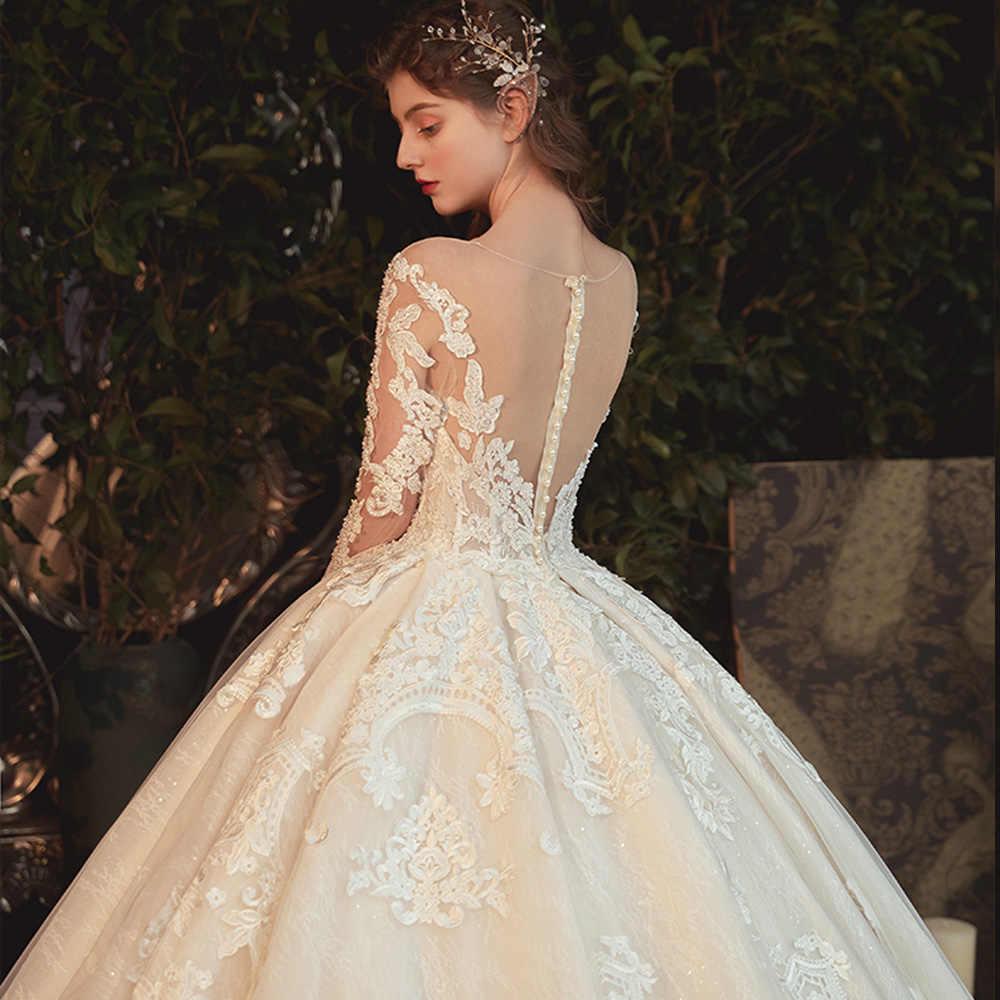 Perles perles Appliques dentelle Illusion princesse robe De bal robe De mariée avec manches longues Vestido De Noiva Princesa