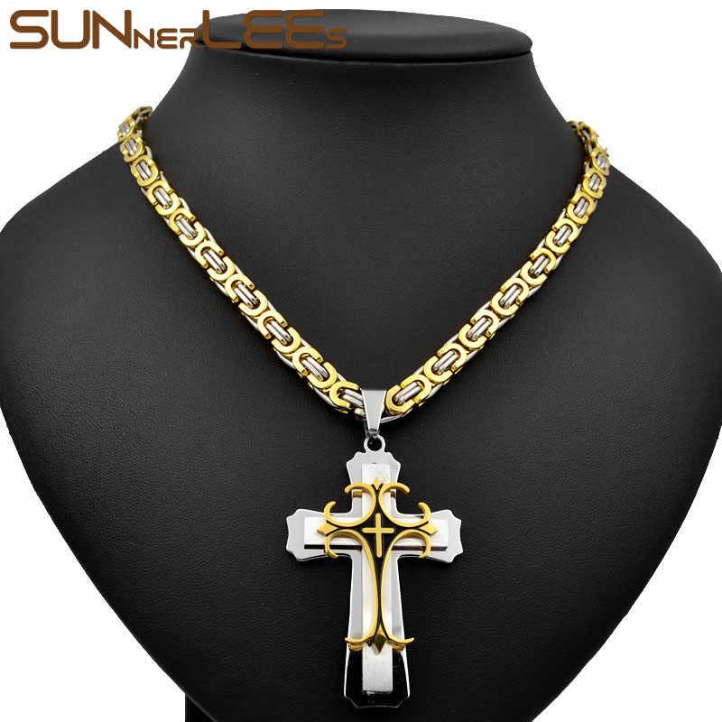 SUNNERLEES 316L In Acciaio Inox Gesù Cristo Croce Pendente Della Collana Bizantino Catena a maglia D'argento In Oro Degli Uomini di Colore Ragazzi Regalo SP67
