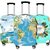Cubierta protectora del equipaje del mapa 3D de la manera para el viaje espesa la cubierta elástica impermeable de la maleta para el viaje de 18-32 pulgadas XL accesorios