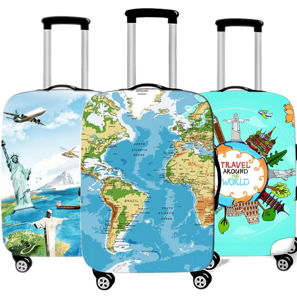 Fashion 3D Map Luggage Protective Cover For Travel Thicken Waterproof Elastic Suitcase Cover For 18-32 Inch XL Travel Accessorie