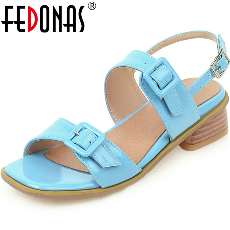 FEDONAS Lace Up High Heels Sandal Buckle Pather Leatherwomen Pupms Classic Casual 2020 Summer Party Office Lady Shoes Woman