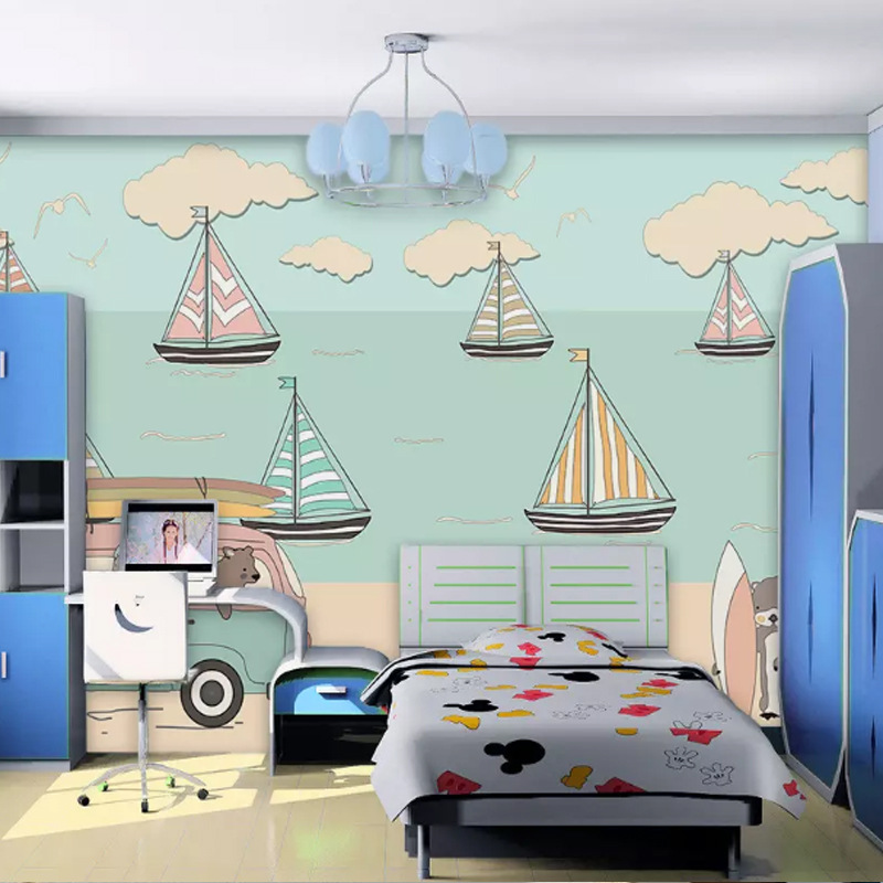 Blue Mediterranean CHILDREN'S Room Wallpaper Boys And Girls Bedroom Non-woven Wallpaper Cartoon Sailboat TV Backdrop