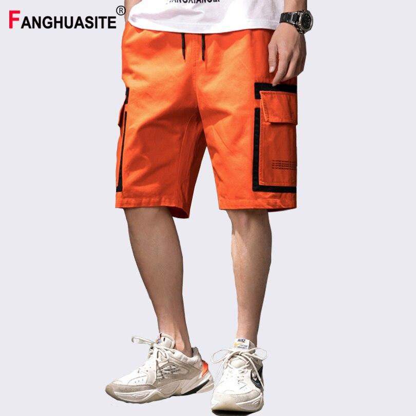 Summer Men's Cargo Shorts Splice Big Pocket Design Cotton Casual Shorts Elastic Waist Hip Hop Jogging Streetwear Shorts Men A938