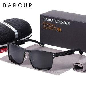 Image 5 - BARCUR Trending Styles Aluminium Magnesium Glass Square Men Sunglasses Polarized Sun glasses for Men Sport Eyewear Oculos de sol