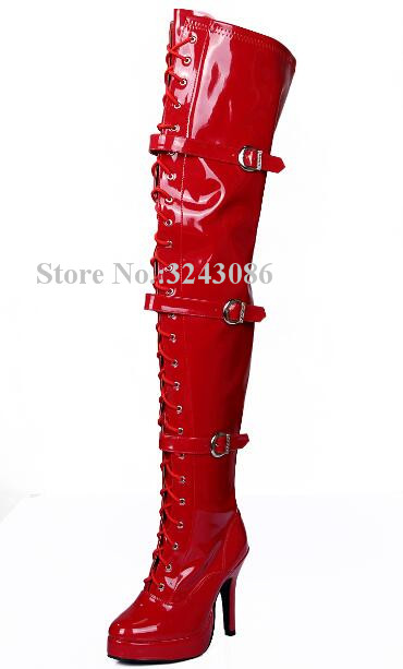 Woman Red Color Patent Leather Platform Thigh High Boots Fashion Lace-up Buckles Thin Heel Over the Knee Ladies Long Boots