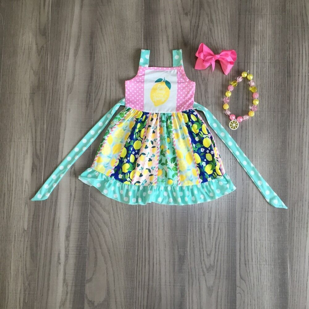 Baby Girls Summer Clothes Girls Twirl Dress With Lemon Print Girls Slip Dress With Accessories