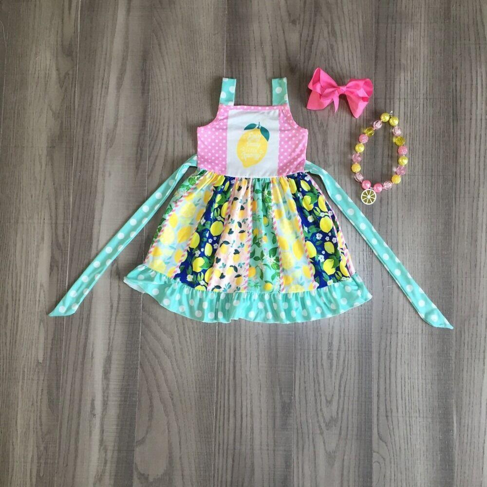 Baby Girls Summer Clothes Girls Twirl Dress With Lemon Print Girls Slip Dress With Accessories