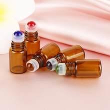 Frascos de rolo de óleo essencial de vidro, frascos de rolo com bolas de vidro para aromaterapia, perfumes e bálsamos labiais 2 com 10 peças ml