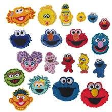 Anime sésamo rua remendo cookie monstro elmo grande pássaro dos desenhos animados remendos de engomar baratos bordados para crianças roupas
