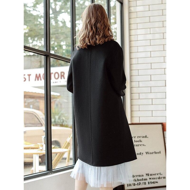 Moda 2019 nuevo otoño invierno abrigo de mujer solapa negro largo abrigo de lana Oficina señoras elegante estilo breve abrigo de lana ropa - 4