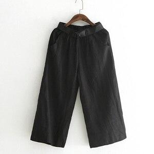 Image 4 - Johnature Frauen Breite Bein Hosen Taschen Elastische Taille 2020 Herbst Neue Feste Farbe Baumwolle Leinen Hosen Lässig Frauen Hosen