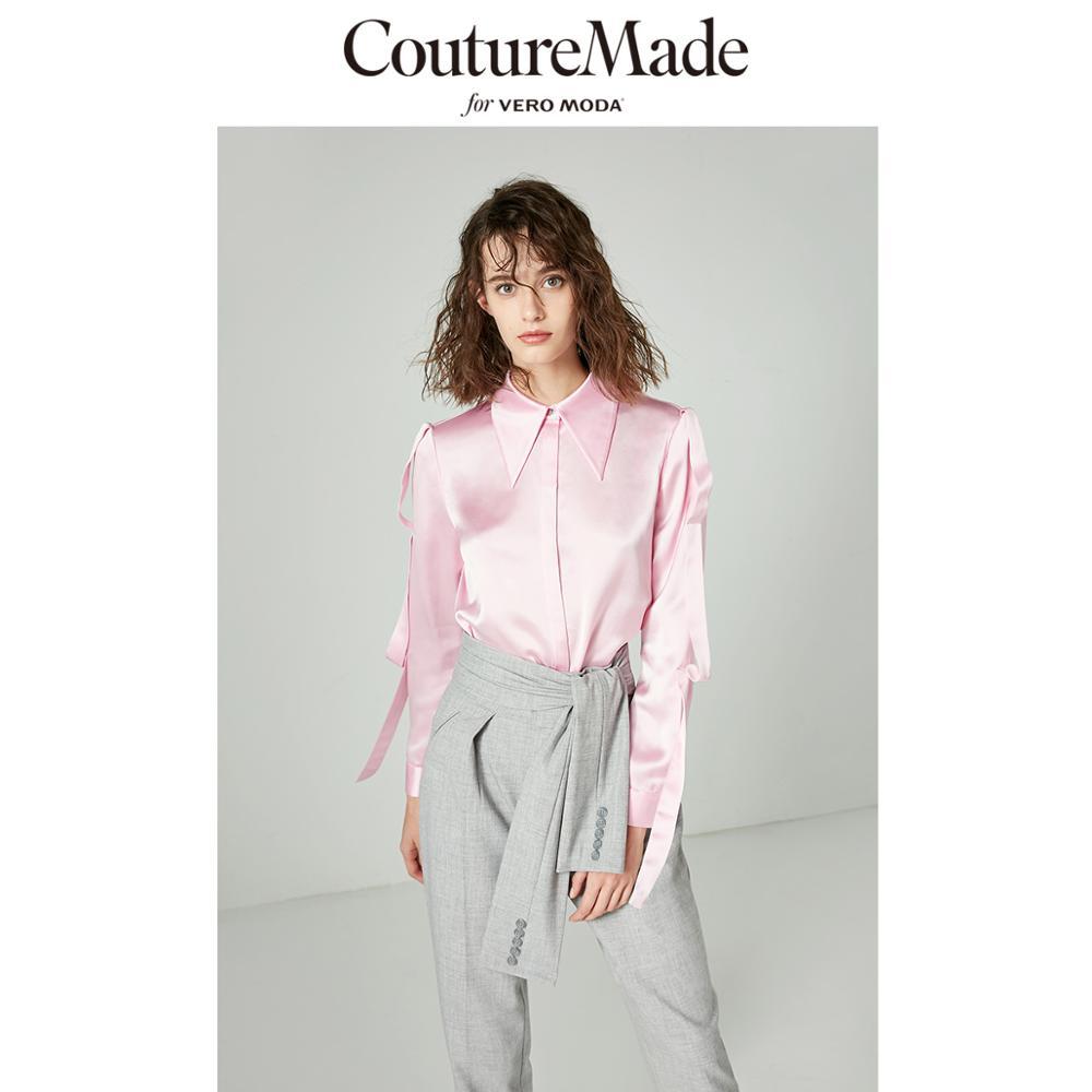 Vero Moda Women's CoutureMade Pointed Collar Ribbons Drapery Shirt   318405513