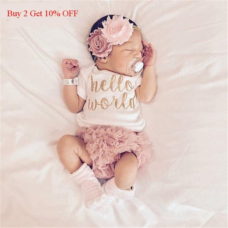 EAZII Hello World imprimer nouveau-né infantile bébé fille barboteuse combinaison avec sous-vêtements à manches courtes Sunsuit vêtements d'été tenue 0-24M (lot de 2)