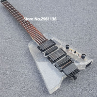 2019 High quality China electric guitar, Acrylic Headless electric guitar with LED lights,Custom electric guitar, free shipping