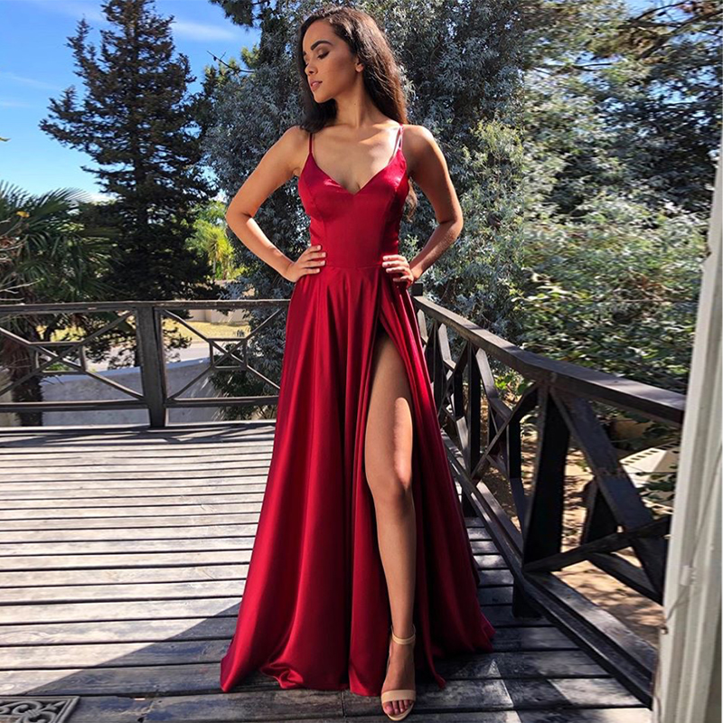 Sexy Burgundy Prom Dresses High Slit Simple Satin Cheap Evening Dress Vestidos De Fiesta De Noche Spaghetti Straps Prom Gowns