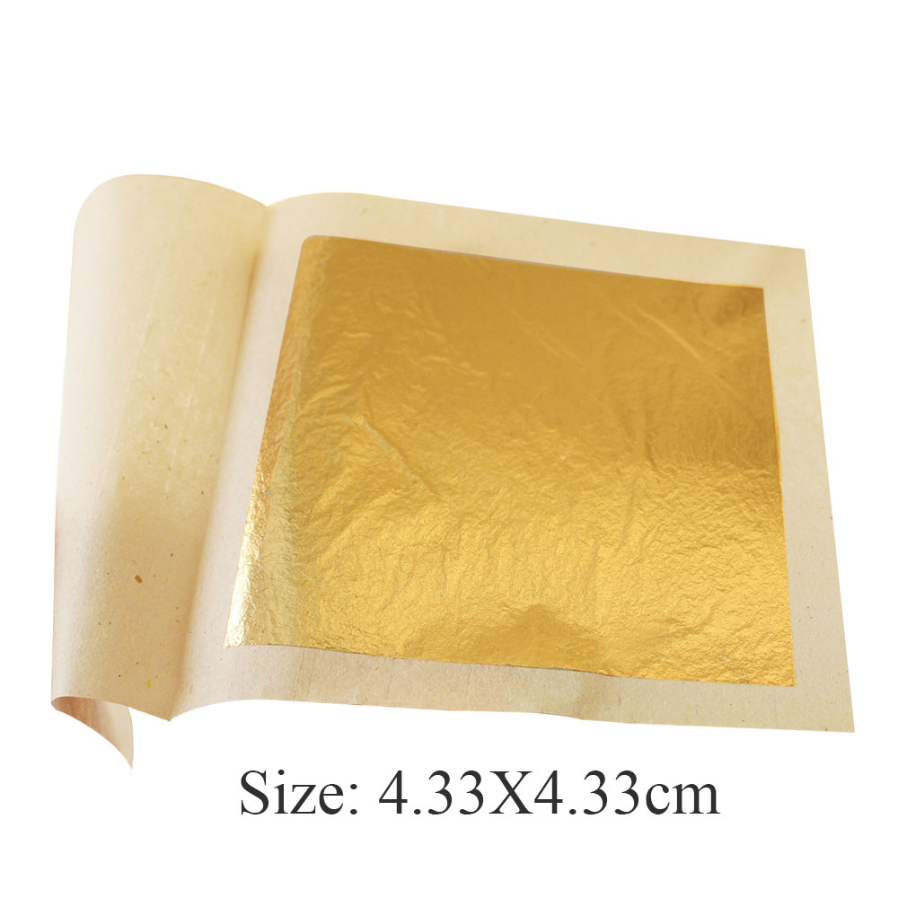 10 sheets 24K pure genuine gold leaf foil sheet - 4.33X4.33cm, edible gold sheets , decoration cake leaves , free shipping earrings