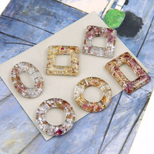 2pcs korean transparent resin embedded dried flower pearl gold foil hollow round square geometric earrings jewelry accessories