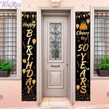 Bannière d'anniversaire en or et noir, décoration de fête d'anniversaire pour adultes de 30, 40, 50 ans, fourniture de fête d'anniversaire