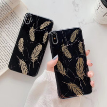 Luxury plating marble feathers phone case For iphone XS MXA XR X 6 6s 7 8plus soft shell IMD back cover