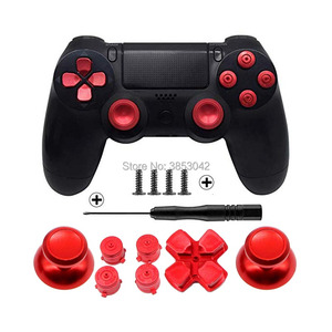 Image 4 - Metal Buttons Set Chrome Analog Thumbsticks For Playstation 4 D Pad for PS4 Controller Joystick Repair Game Accessories