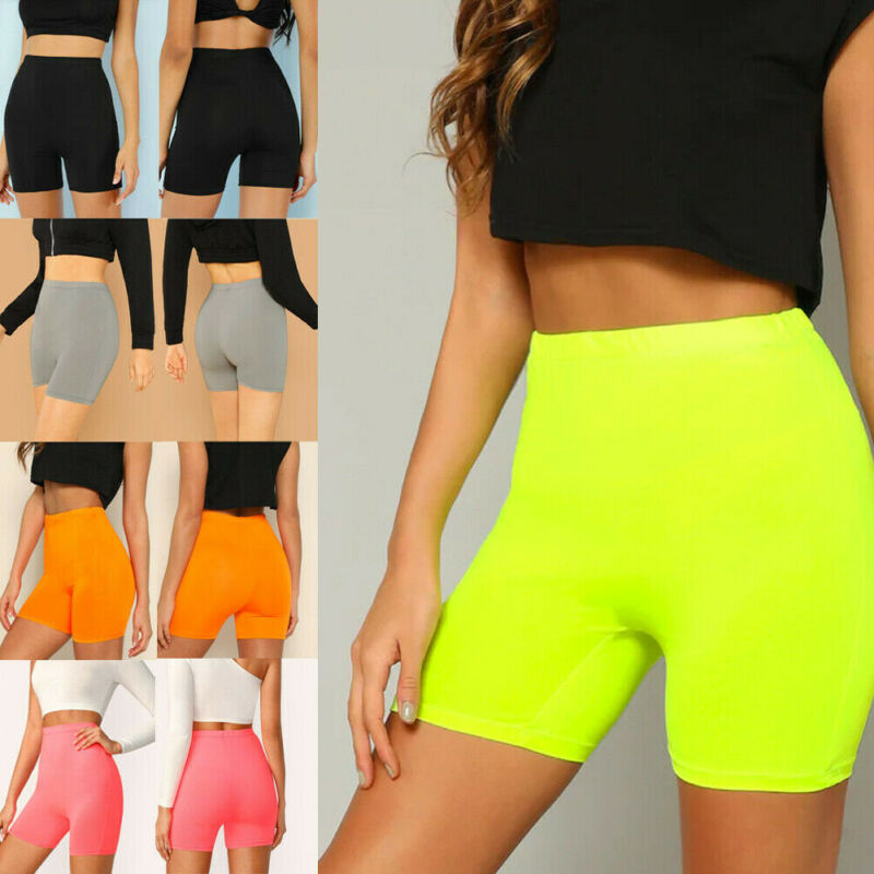 Summer Women's Cycling Shorts Stretch Workout Sports Fitness Ladies Elastic Waist Elastic Leggings Shorts Yoga Shorts