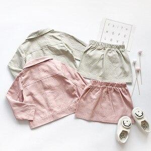 Image 2 - Ensemble de vêtements pour petites filles, veste solide à manches longues, avec jupe crayon, tendance douce, tenue dautomne pour enfants