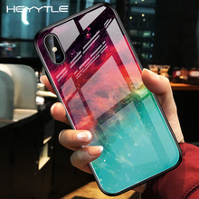 Heyytle Gradient Tempered Glass Case For iPhone 7 8 Plus 6 6s Starry Sky Cases X XS MAX XR Painted Space Cover Coque