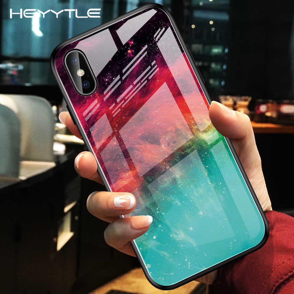 Чехол Heyytle из закаленного стекла с градиентом для iPhone 7, 8 Plus, 6, 6 s, чехол с изображением звездного неба, для iPhone X, XS, XR, 11 Pro, Max, чехол с рисунком